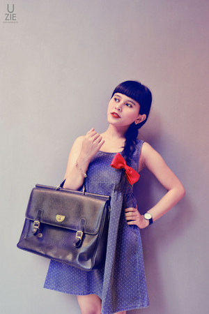 Navy Polka  Dress on Navy Polkadot Dress Black Mellow Bag Red Diy Tie My Brother Give Watch