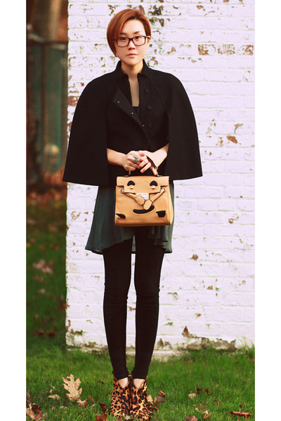 Vtg boots - mrsmiley VA bag - BCBG cape - Zara top