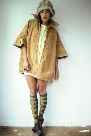 brown vintage coat - yellow vintage dress