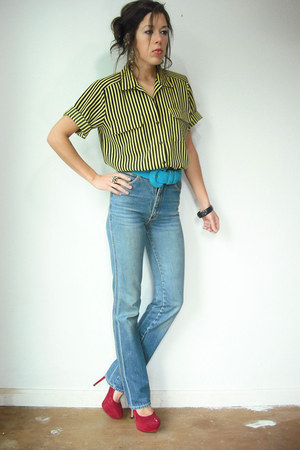 yellow vintage blouse - high waist vintage jeans