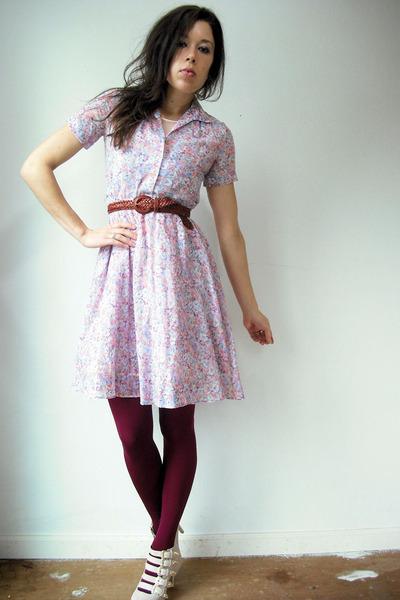 pink vintage dress - light pink slip floral vintage dress - maroon Anthropologie