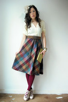 maroon Anthropologie tights - gold clutch vintage purse - vintage from VIRAL THR