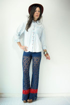 vintage pants - vintage jordache blouse - booties Jeffrey Campbell clogs