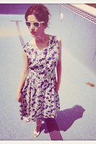 vintage dress dress - rayban glasses - zara sandals sandals