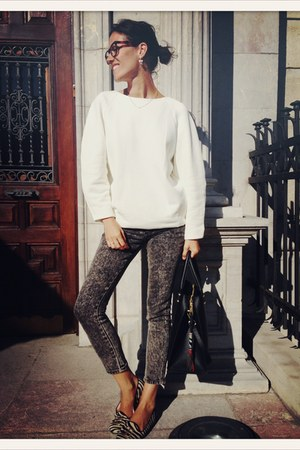 brown VIRVIN glasses - charcoal gray Cheap Monday jeans - white Zara jumper