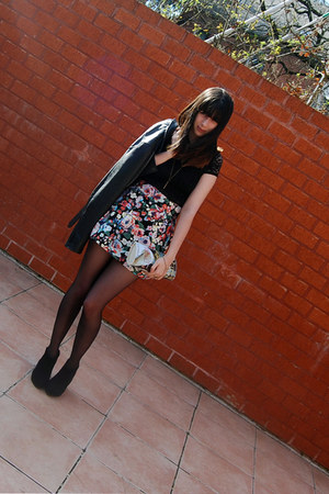 floral skirt H&M skirt - leather Lipsy jacket - dim touch DIM tights