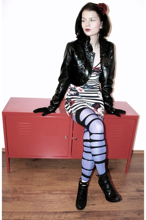 blue leggings - black socks - white Jane Norman dress - black NewYorker jacket -