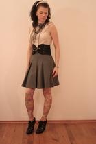black Miss Sixty belt - yellow Topshop tights - gray skirt - beige Mango top - b