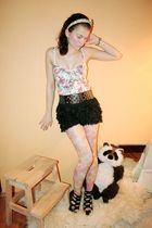 white Zara top - black Zara shorts - black Zara belt - beige Topshop tights - bl