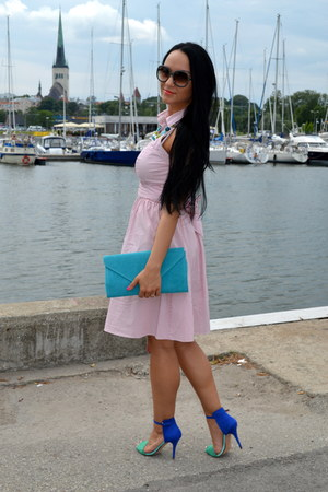 blue Zara sandals - light pink Zara dress - sky blue Mohito purse