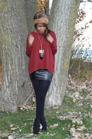 black faux leather H&M skirt - black wedges Aldo boots - ruby red H&M sweater