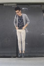 Polka-dots-oxygen-shirt-bench-cardigan-beige-chinos-sm-pants