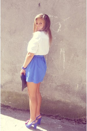 blue Stradivarius skirt - white Terranova shirt - Aldo heels - navy q&q watch