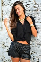 black Bershka shirt - black leather Bershka shorts