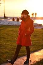 asoscom coat - Hunter boots - River Island jeans - asoscom hat