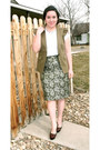 Metallic-floral-j-crew-skirt-military-vest-j-crew-t-shirt