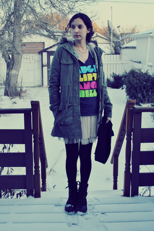 Yes Style skirt - army green blue notes coat - navy blue notes shirt