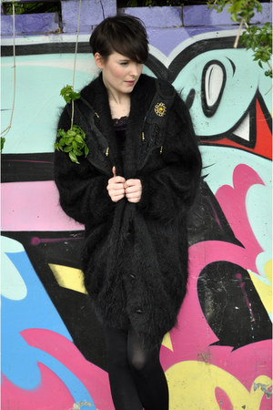 black mohair beaded vintage cardigan