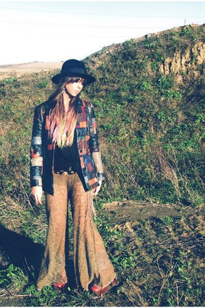 vintage hat - patchwork vintage jacket - free people pants - vintage belt