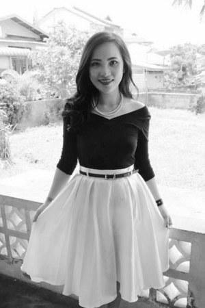 black sabrina style top - off white ballerina skirt skirt