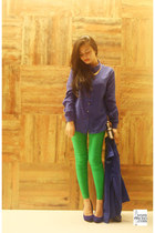 shoes - jacket - gold bag - chartreuse pants - navy top - necklace