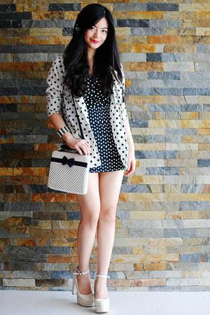 white blazer - off white shoes - dress - black bag - bracelet