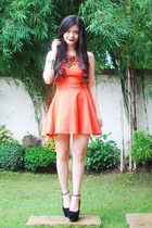 necklace - black shoes - carrot orange dress - bracelet