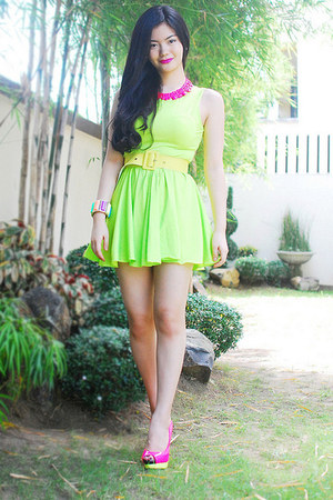 hot pink necklace - shoes - chartreuse dress - bracelet