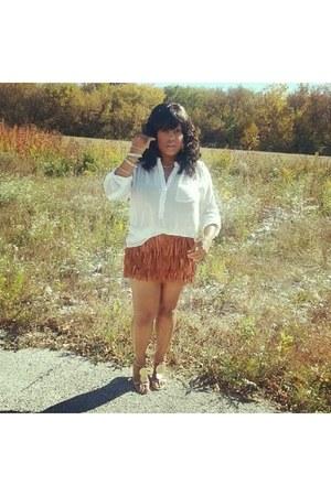 bronze Zara skirt - bronze Casadei heels - ivory Pleione blouse