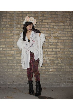 black combat boots - peach hat - bronze leggings - neutral flower vest vest