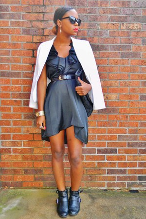 white blazer - black buckle ankle boots - black satin ruffle Converse dress