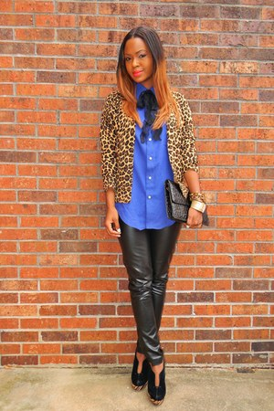 blue Express shirt - black purse - tie - black faux leather Express pants