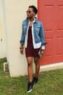 Crimson-h-m-dress-light-blue-the-limited-denim-jacket-black-aldo-sneakers