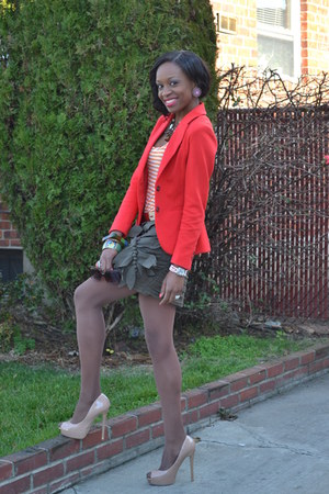 Forever 21 skirt - JustFab shoes - H&M blazer - Forever 21 shirt