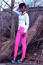 white H&M blouse - blue Jessica Simpson heels - hot pink H&M pants