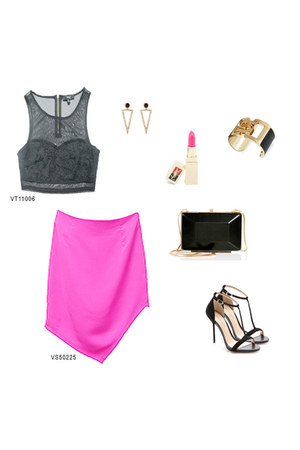 black VeryJ top - hot pink VeryJ skirt
