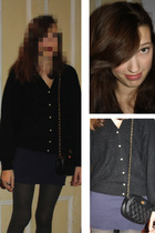 black Victoria Jones cardigan - gray H&M tights - blue american apperal dress -