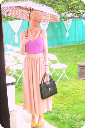 tan maxi American Apparel skirt - black satchel thrifted bag