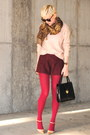 Light-pink-chunky-forever-21-sweater-hot-pink-opaque-urban-outfitters-tights