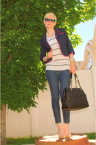 skinny jeans f21 jeans - navy Old Navy blazer - quilted handbag kate spade bag -