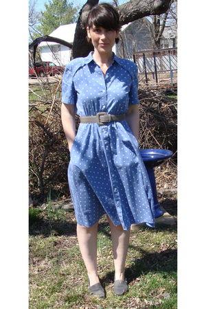 blue liz claiborne dress - gray belt - gray TOMS shoes