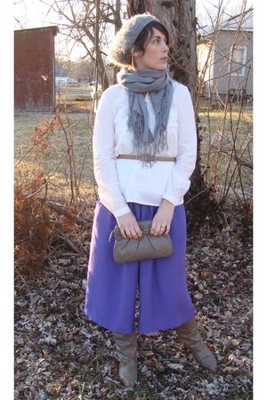 purple pants - white blouse - brown purse - brown Joyce boots - gray hat - gray