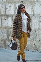 Mango shoes - faux fur Stradivarius coat - Stradivarius jeans - Louis Vuitton ba