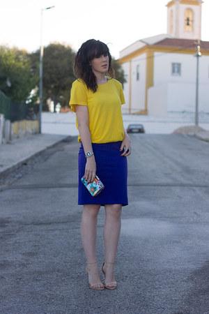 mustard H&M top - navy Parfois bag - deep purple H&M skirt - nude Zara heels