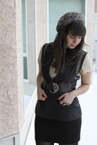 navy rachel rachel roy vest - black BB Dakota skirt - dark brown Diesel belt - b