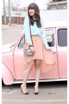 salmon Forever 21 skirt - brown tiger print Michael Kors bag - nude Zara heels