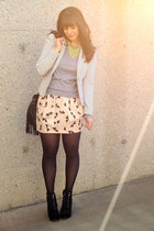 light pink H&M skirt - black Michael Kors boots - heather gray TNA sweater