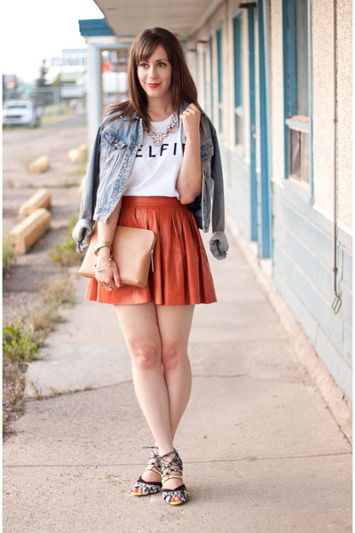 burnt orange leather Alice  Olivia skirt - sky blue jean H&M jacket