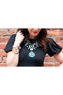 Dark-green-zara-necklace-black-ruffled-sleeves-ralph-lauren-shirt