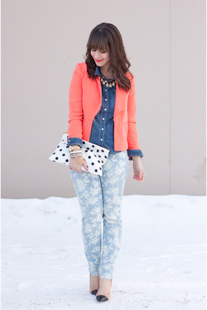 coral coral Forever 21 blazer - light blue floral print Joe Fresh jeans